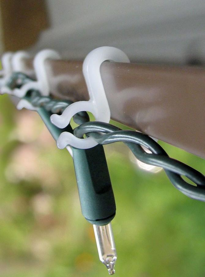 gutter hooks for icicle and string lights 200 bulk pack - Christmas Light Holders