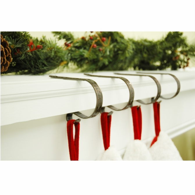 Haute Decor The Original MantleClip Stocking Holder with Holly Embossed Design Oil-Rubbed Bronze 4 Pack
