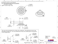 Technical Drawing. 22mm Suction Cups with Top Pilot Hole and Mushroom Head. 10pk to 3000 bulk box.