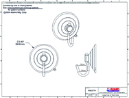 Technical Drawing. 64mm Suction Cup with Polycarbonate Swivel Hook.