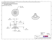 Technical Drawing. 32mm Suction Cups with Long Neck and Top Hole