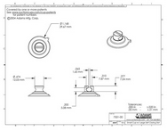 Technical Drawing. 32mm Suction Cups with Large Slot Head.