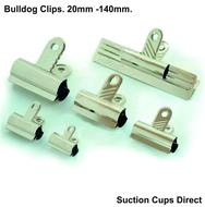 Small Bulldog Clips. Silver Shiny Metal bulldog Clips. 20mm x 10 sample pack.