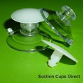 Suction Cups with Flat Barbed Thumb Tacks. 22mm x 10 pack