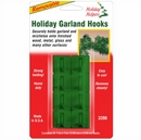 Garland Hooks. Christmas Garland Hooks for Mantels. Green. Pack of 16.