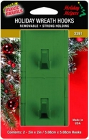 Adhesive Wreath Hook for Composite Wood Grain UPVC Door. Green. Pack of 2.