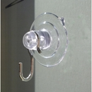 Small suction cups with hooks. 32mm diameter. Long Neck. Holds 0.45kgs.