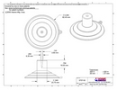 Technical Drawing. 85mm Heavy Duty Suction Cups. Narrow Top Pilot Hole.