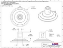 Technical Drawing. 85mm Suction Cup with Top Pilot and Side Pilot Hole.