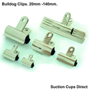Bulldog Clips. Premier Grip Silver Shiny Bulldog Clips. 70mm x 20 pack.